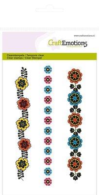 Crealies und CraftEmotions Timbri trasparenti, fiori bordi Folklore