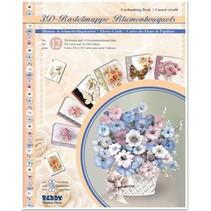 3D håndværk tegnebog blomsterbuketter, blomster til design af 12 kort
