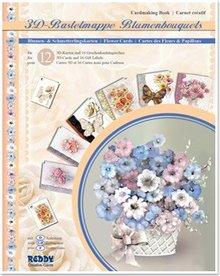 BASTELSETS / CRAFT KITS: 3D håndværk tegnebog blomsterbuketter, blomster til design af 12 kort