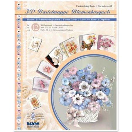 BASTELSETS / CRAFT KITS: 3D-Bastelmappe Blumenbouquets, zur Gestaltung von 12 Blumen Karten