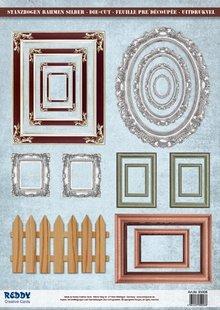 Embellishments / Verzierungen Die-cut photo frame, with mettalic silver effect, 17 parts