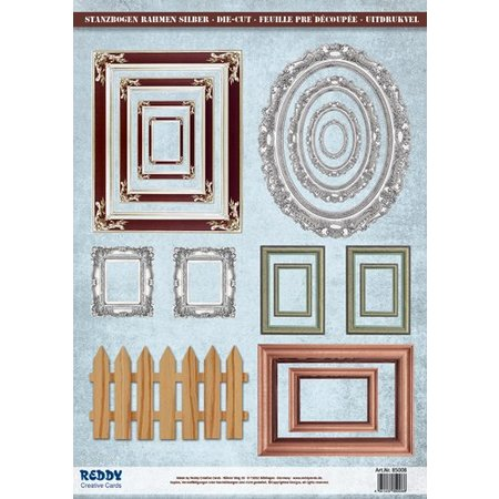 Embellishments / Verzierungen Stanzbogen Bilderrahmen, mit mettalic silber Effekt, 17 Teile
