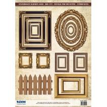 Die Cut marco de fotos de hoja, con oro, 17 piezas