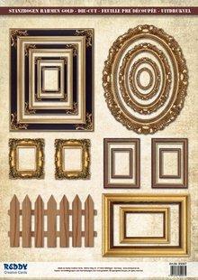 Embellishments / Verzierungen Die Cut foglio cornice, con oro, 17 parti