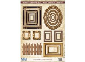 Embellishments / Verzierungen Die Cut sheet picture frame, with gold, 17 parts