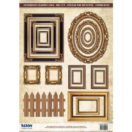 Embellishments / Verzierungen Die Cut marco de fotos de hoja, con oro, 17 piezas