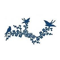 Stempelen en ponsen template, flarden Lace Oriental Bluebird