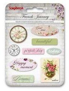 Embellishments / Verzierungen Luxury abbellimenti 3D, Epoxy Stickers francese Viaggio, 9 Argomenti