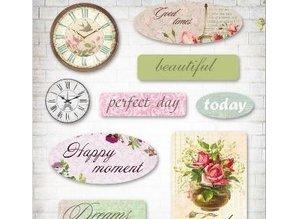Embellishments / Verzierungen Luksus 3D dekorationer, Epoxy Stickers French Journey, 9 Emner