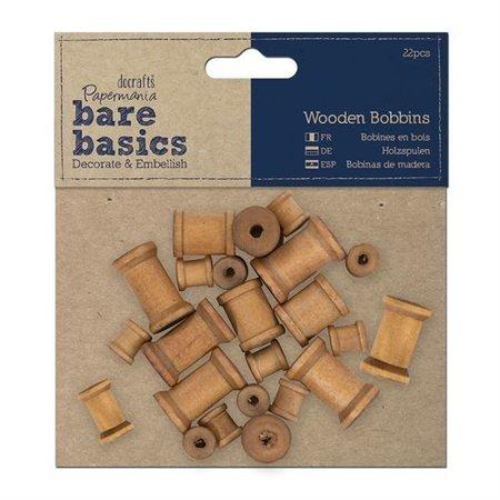 Embellishments / Verzierungen 22 Mini nostalgische Holzspulen