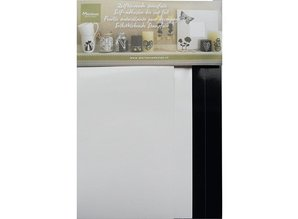 Sticker Self-stamping foil, 4 leaf 2x white and 2x black