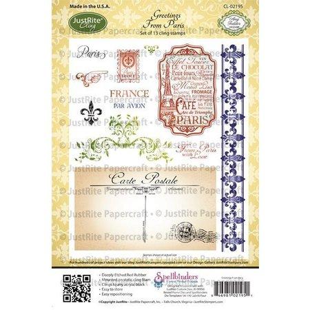 JUSTRITE AUS AMERIKA Justrite, sello de goma, saludos desde París