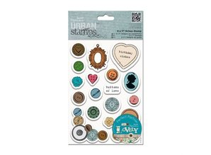 Docrafts / Papermania / Urban Rubber stamp with Different buttons