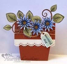 Heartfelt Creations aus USA Timbro cuore, ramo romantico con foglie + Testo