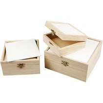 3 wooden boxes with cardboard