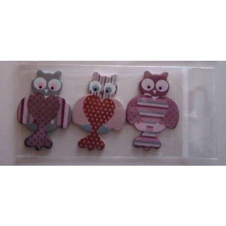 Embellishments / Verzierungen 3 painted wooden figures, 25-45 mm, owl