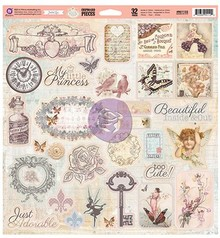 Prima Marketing und Petaloo Chipboard Princess 32 parts