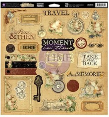 Prima Marketing und Petaloo Chipboard TimeTraveler Collection