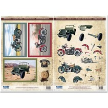 Stanzbogen und Motivbogen, 2 Motorräder, Geländewagen