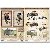 Die cut sheets and bow motif, 2 vintage cars, 1 Oldtimerbus