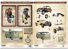 BILDER / PICTURES: Studio Light, Staf Wesenbeek, Willem Haenraets Die cut sheets and bow motif, 2 vintage cars, 1 Oldtimerbus