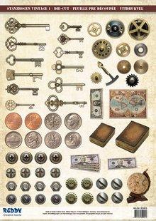 Embellishments / Verzierungen Die cut sheet and pattern sheet, cut sheets Vintage