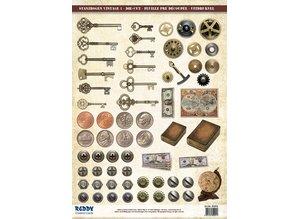Embellishments / Verzierungen Die cut plade og mønster ark, afskårne ark Vintage
