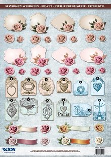 Embellishments / Verzierungen Die cut sheets with accessories from card stock, A4, labels