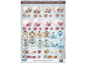 Embellishments / Verzierungen Die cut ark med tilbehør fra karton, A4, etiketter