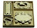 Objekten zum Dekorieren / objects for decorating Ornamento di legno, scatola di ornamento con 20 etichette di legno