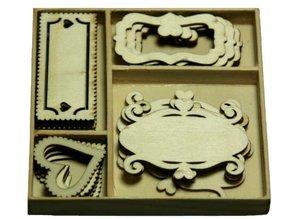 Objekten zum Dekorieren / objects for decorating Wood Ornament Box, kasse ornament med 20 træ etiketter