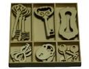 Objekten zum Dekorieren / objects for decorating Ornamento legno Box chiave e serratura parti 30