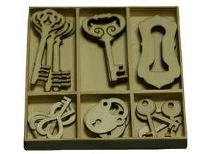 Objekten zum Dekorieren / objects for decorating Wood Ornament Box nøgle og lås dele 30