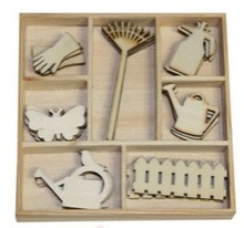 Objekten zum Dekorieren / objects for decorating Box Botanisk Sommer, haveudstyr 35 Dele