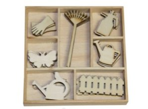 Objekten zum Dekorieren / objects for decorating Box Botanisk Sommer, haveudstyr 35 Dele