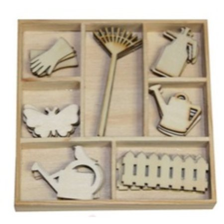 Objekten zum Dekorieren / objects for decorating Box Botanical Summer, Gartengeräte 35 Teile