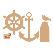 MDF establece marítimo, ancla / bolardo / Rowingbike