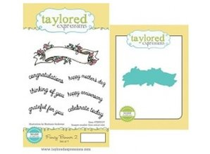 Taylored Expressions Stamp banner + text + punch template
