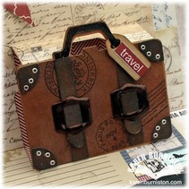 "Stamping and Embossing stencil, Echo Park Suitcase Designer This ""suitcase"""