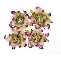 Gardenie 5 cm, 4 Stück, 2 farbig, lilla/grün