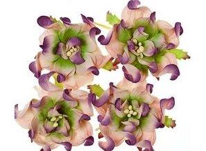 BLUMEN (MINI) UND ACCESOIRES Gardenia 5 cm, 4 pieces, 2 colors, Lilla / green