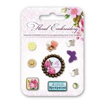 Brads decorativas con motivos florales y mariposas, 10 piezas