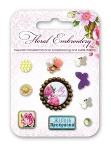 Embellishments / Verzierungen Decorative Brads with floral motifs and butterflies, 10 pieces
