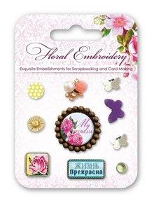 Embellishments / Verzierungen Dekorative Brads med blomstermotiver og sommerfugle, 10 stykker