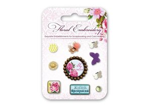 Embellishments / Verzierungen Brads decorativi con motivi floreali e farfalle, 10 pezzi
