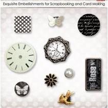 Dekorative Brads mit Uhre, Schmetterlinge und Blümchen, 10 Teilchen