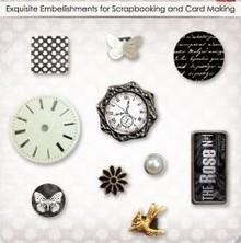 Embellishments / Verzierungen Brads decorativi con Uhre, farfalle e fiori, 10 particelle