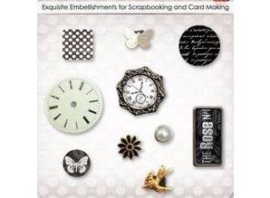 Embellishments / Verzierungen Dekorative Brads med Uhre, sommerfugle og blomster, 10 partikler