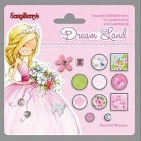 Embellishments / Verzierungen 15 broches decorativos, tonos de rosa / verde
