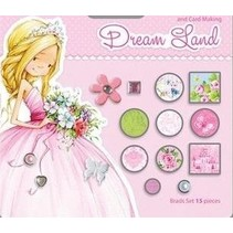 15 decoratieve brads, roze / groene tinten